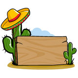 Mexican sombrero cactus signpost. Wooden signpost in the Mexican desert with cactus plants and a sombrero vector illustration