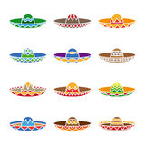 Mexican sombrero color flat icons set Stock Images