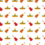 Mexican sombrero and guitar pattern Royalty Free Stock Images