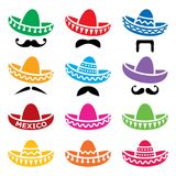 Mexican Sombrero hat with moustache or mustache  icons set. Traditional hat from Mexico design collection isolated on white Royalty Free Stock Photos