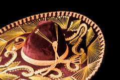 Mexican Sombrero Isolated on Black Stock Images