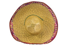 A mexican sombrero isolated on a white background. Top view royalty free stock images