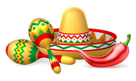 Mexican Sombrero Maracas and Chilli Pepper. A Mexican sombrero hat, red chilli pepper and maracas shakers illustration stock illustration