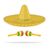 Mexican sombrero with maracas vector illustration isolated on white background. Mexican sombrero with maracas vector illustration isolated on a white background Stock Photos