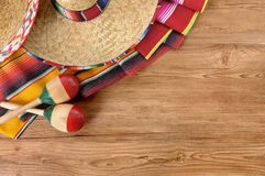 Mexican background sombrero wood copy space Royalty Free Stock Photo