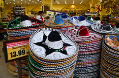 Mexican sombreros in gift shop Stock Image