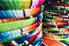 Mexican Sombreros. Stacked Mexican sombreros at a street market stock photos