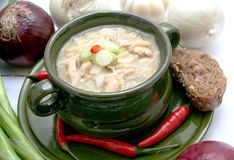 Mexican soup. With chicken and peas Royalty Free Stock Photo