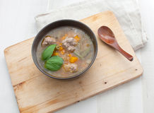 Mexican soup with beans and meatballs Stock Image