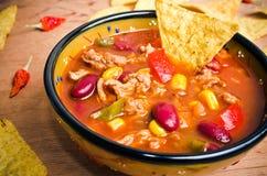 Mexican soup with tacos Stock Photos