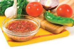 Mexican spicy fresh sauce salsa. Mexican vegetarian spicy sauce salsa made with fresh vegetables stock photos
