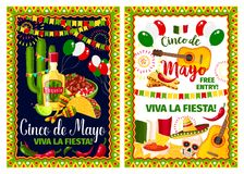 Mexican holiday card of Cinco de Mayo fiesta party. Mexican spring holiday invitation poster for Cinco de Mayo fiesta party template. Festive food, sombrero Royalty Free Stock Photography