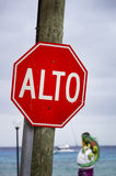 Mexican Stop Sign Stock Photo