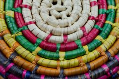 Mexican straw basket detail. Colorful plaited Mexican straw basket detail Royalty Free Stock Images