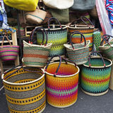 Mexican straw baskets Royalty Free Stock Image