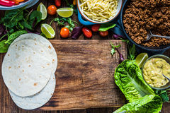 Mexican street simple street food, tortillas with beef. Stock Photography