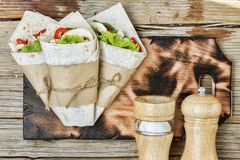 Mexican street tacos, lager  beer,  Beef burrito, Mexican food Royalty Free Stock Images