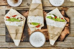 Mexican street tacos, lager  beer,  Beef burrito, Mexican food Royalty Free Stock Photos
