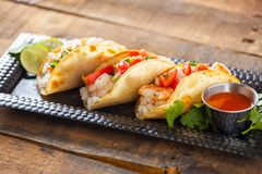 Free Mexican Street Tacos With Shrimp, Rice And Salsa In Yellow Corn Royalty Free Stock Image - 78095596