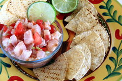 Mexican style Ceviche. With corn chips Stock Photo