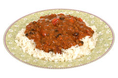 Mexican Style Chilli Con Carne with Rice Stock Photo