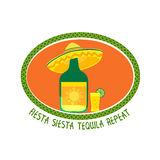 Mexican style concept. Mexican poster concept. Freehand drawn flat style. Fiesta Siesta in Spanish festival rest. Bottle of tequila in sombrero. Traditional Stock Photography