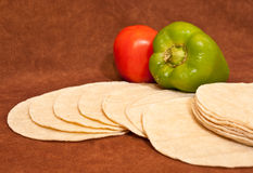Mexican Style Cuisine. Staggered Corn Tortilla with Bell Pepper and Tomato for Restaurant and/or Food Presentations Stock Photography