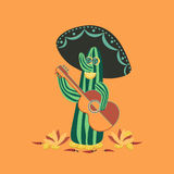 Mexican style. Fancy Cactus Mariachi. Fiesta background concept. Mexican food, Chili pepper, lime, guitar, sombrero. Holiday Cinco de Mayo. Party banner stock illustration