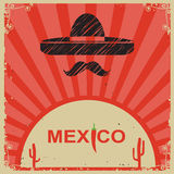 Mexican style poster with sombrero on old paper Stock Photo