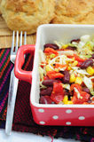 Mexican style salad. With red beans, corn, cabbage and red peppers Royalty Free Stock Photos