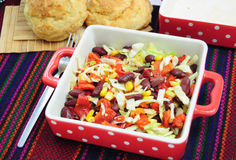 Mexican style salad. With red beans, corn, cabbage and red peppers Stock Image