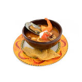 Mexican style of seafood soup with shrimp, salmon and clams in b Royalty Free Stock Photography