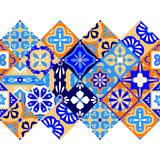 Mexican stylized talavera tiles seamless border in blue orange and white, vector Royalty Free Stock Image