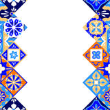 Mexican stylized talavera tiles seamless border in blue orange and white, vector Stock Photo