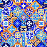 Mexican stylized talavera tiles seamless pattern in blue orange and white, vector Royalty Free Stock Photo