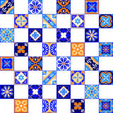 Mexican stylized talavera tiles seamless pattern in blue orange and white, vector. Background vector illustration