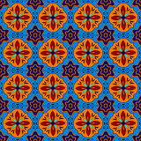 Mexican stylized talavera tiles seamless pattern in blue and red, vector Stock Photography