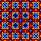 Mexican stylized talavera tiles seamless pattern in blue and red, vector Royalty Free Stock Photo