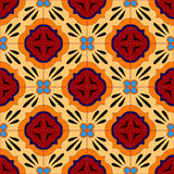Mexican stylized talavera tiles seamless pattern in blue and red, vector Stock Image