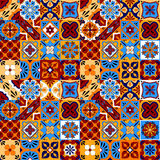 Mexican stylized talavera tiles seamless pattern in blue red and yellow, vector. Background stock illustration