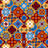 Mexican stylized talavera tiles seamless pattern in blue red and yellow, vector Royalty Free Stock Photo