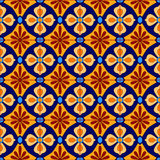 Mexican stylized talavera tiles seamless pattern in blue and yellow, vector. Background royalty free illustration