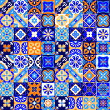 Mexican Stylized Talavera Tiles Seamless Pattern In Blue Orange And White, Vector Royalty Free Stock Images