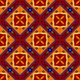 Mexican stylized talavera tiles seamless pattern in red and yellow, vector Stock Image