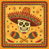 Mexican sugar skull. Mexican border with sugar skull in sombrero Royalty Free Stock Photography