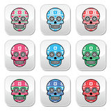 Mexican sugar skull buttons with winter Nordic pattern Stock Photos