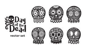 Mexican sugar skull collection in black and white colors. Day Of The Dead. Floral ornamental skulls. Set of black and white vector illustrations Royalty Free Stock Photos