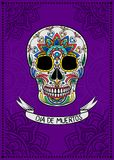 Mexican sugar skull with colorful floral pattern, Dia de Muertos, design element for poster, greeting card vector. Illustration on a purple background royalty free illustration