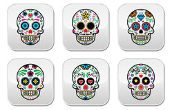 Mexican sugar skull, Dia de los Muertos buttons set on white background Royalty Free Stock Image