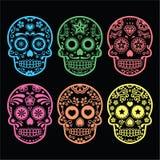 Mexican sugar skull, Dia de los Muertos icons on black Stock Photo
